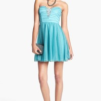 Trixxi Strapless Ruched Party Dress (Juniors) (Online Only) | Nordstrom