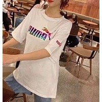"""PUMA"" Woman Leisure Fashion Letter Personality Printing Hedging Crew Neck Short Sleeve Motion Tops"