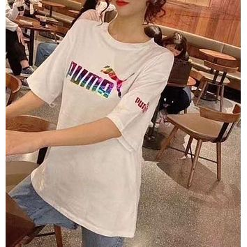 """""""PUMA"""" Woman Leisure Fashion Letter Personality Printing Hedging Crew Neck Short Sleeve Motion Tops"""