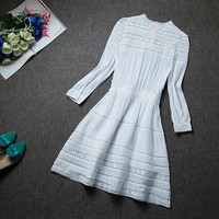 White A-Line Long Sleeved Embroidery Lace Crochet Mini Dress