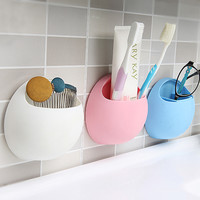 Toothbrush Holder Suction Cup Organizer Bathroom Kitchen Storage Tool Storage Box for Home Decor 11 * 10.5 * 5cm 4 Colors