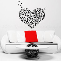 Heart with birds and butterflies wall decal, wall sticker, love decal, wall graphic , vinyl decal, sticker, decal, vinyl bird wall decal