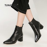 Plus Size 43 Cow Leather Thick High Heel Ankle Boots Fashion Chelsea Boots Winter Casual Shoes Woman Black