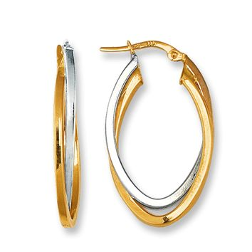 14K Two Tone Yellow And White Gold Oval Double Row Hoop Earrings
