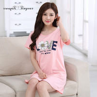 New Summer Hot Sale Cotton ladies Plus Size Sleepwear Breathable Letter Design Nightgown