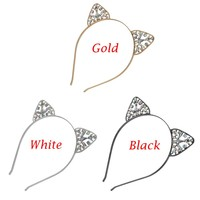 1PC Glitter Cat Ears Crystal Metal Rhinestone Headband 3 Colors