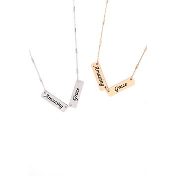 "MYN1420AMZ - ""AMAZING GRACE"" DOUBLE BAR CHARM PENDANT NECKLACE"