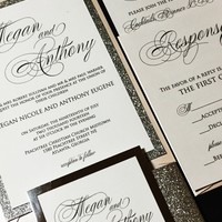 Silver Glitter Wedding Invitation, Elegant Wedding Invitation, Calligraphy Wedding Invitation - MEGAN VERSION