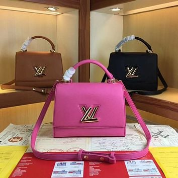 LV Louis Vuitton WOMEN'S LEATHER TWIST ONE HANDLE HANDBAG INCLINED SHOULDER BAG
