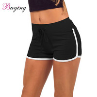 Leisure Women Cotton Sports Shorts Contrast Binding Side Split  Elastic Waist Loose Casual Running Shorts Yo-Ga Short Feminino