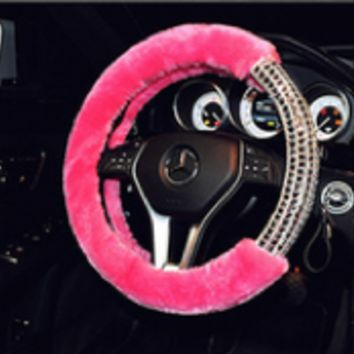 Bling Fluffy Steering Wheel Covers 1 piece