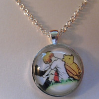 Classic Winnie the Pooh Necklace Pendant -25mm Round Glass Silver Plated Pendant/Necklace