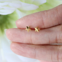 Gold over Starling Silver Star Stud Earrings, Gold Star Earrings, gold Earrings, Dainty gold Earrings, Gold Stud Earrings, Children Jewelry
