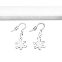 Autism Awareness Silver Puzzle Piece Earrings