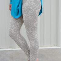 Restock: Branching Out Leggings: Ivory Lace