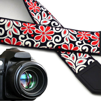Camera strap with flowers. Red and white floral Camera strap. Durable, light and well padded camera strap for DSLR & SLR cameras by InTePro