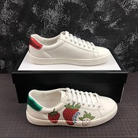 Gucci Ace Sneaker With Strawberry Print
