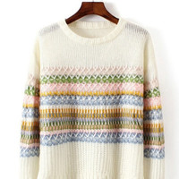 White & Striped Knitted Soft Sweater