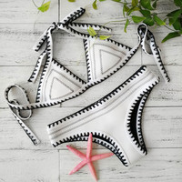 White Crochet Swimwear Women Sexy Neoprene Bikini Set Neoprene Swimsuit