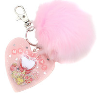 Kawaii Pastel Magical Girl Pink Faux Fur Ball KeyChain