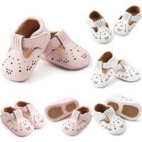 US Toddler Baby Shoes Newborn Girls Soft Soled Princess Crib Shoes Prewalker