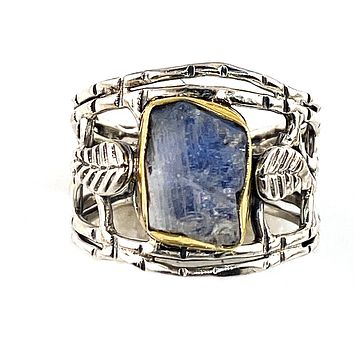 Moonstone Rough Two Tone Vine Sterling Silver Band Ring