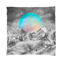 Put Your Thoughts To Sleep (Peaceful Moon / Wolf Spirit) Mini Wall Tapestry / Scarf created by soaringanchordesigns | Print All Over Me