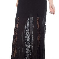 Stand Back Floral Lace Maxi Skirt - Black