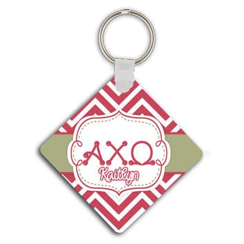 ALPHA CHI OMEGA - THIN CHEVRON WITH SORORITY LETTERS - MONOGRAMMED KEYCHAIN