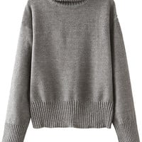 Turtle Neck Solid Color Long Sleeve Sweater