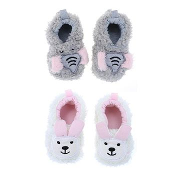 Baby Shoes Coral Cute Animal Fleece Casual First Walker Shoes for Girls Children born Footwear