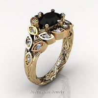 Art Masters Nature Inspired 14K Yellow Gold 1.0 Ct Oval Black White Diamond Leaf and Vine Solitaire Ring R267-14KYGDBD