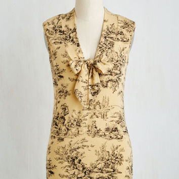 Mid-length Sleeveless Housewarming Your Home Top in Toile