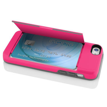 The Pink STOWAWAY™ Credit Card Case with Integrated Stand for iPhone 5c
