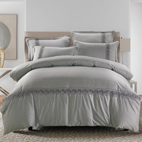Grey Blue Brown color 100%Cotton Embroidery Bedding set Queen King size Bed set Chinese style Quilt/Duvet cover Bedsheet set