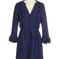 ModCloth Mid-length Long Sleeve A-line Infinite Iterations Dress