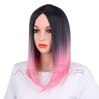 """18"""" Ombre Pink Color Straight Hair Wig for Women"""