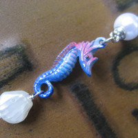 Belly Button Ring Jewelry- Blue Seahorse Seashell Pearl Navel Piercing Long Charm Dangle Barbell Bar