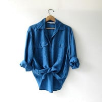 vintage blue silk shirt. slouchy silk blouse. silk pocket shirt. long sleeve silk top.