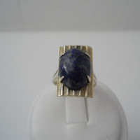 Sterling Silver 925 Lapis Lazuli Cabochon Ring Size 6.5 S