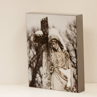Magdalene Wall Panel - 8x10 Photo Standout, Fine Art Photography, Religious Wall Decor, Ready to Hang, Catholic Statue, Snow, Cemetery Print