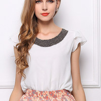 White Pink Chiffon Butterfly Sleeve Top