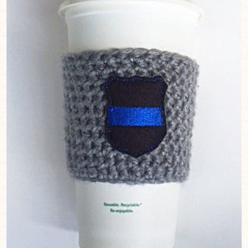 Law Enforcement Crochet Cozy! Crochet Coffee Cozy! Coffee Sleeve! Starbucks Coffee Cozy! Togo Coffee Cup Cozy! Handmade Gifts! Tumbler Cozy