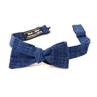 Solid Textured Deep Indigo Blue Bow Tie - One Piece Remaining