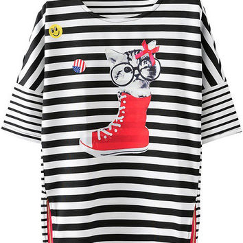 Striped Cat Printed Hem Zipper T-Shirt