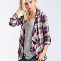 Full Tilt Plaid Womens Wrap Shirt Purple  In Sizes