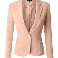LE3NO Womens Classic Fitted Boyfriend Blazer Jacket