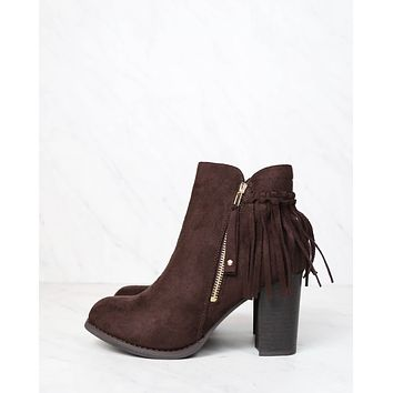 City Chic Fringe Vegan Suede Ankle Boots in Brown
