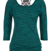 Drop Shoulder Spacedye Crochet Back Top - Sea Green
