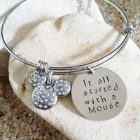 Bangle - Disney - Jewelry - Mickey - Mouse - Hand Stamped - Bracelet - Stamped Jewelry - Quote